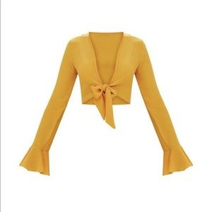 Yellow Tie Front Top